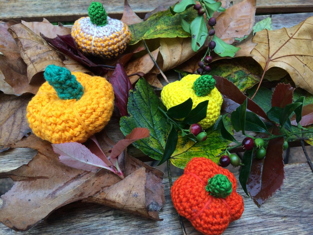 pumpkins made out of leftover yarn