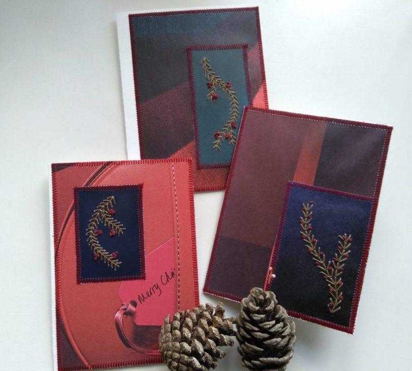 Tre genbrugs julekort med broderede grangrene