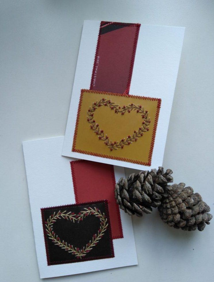 Genbrugs julekort med broderede hjerter