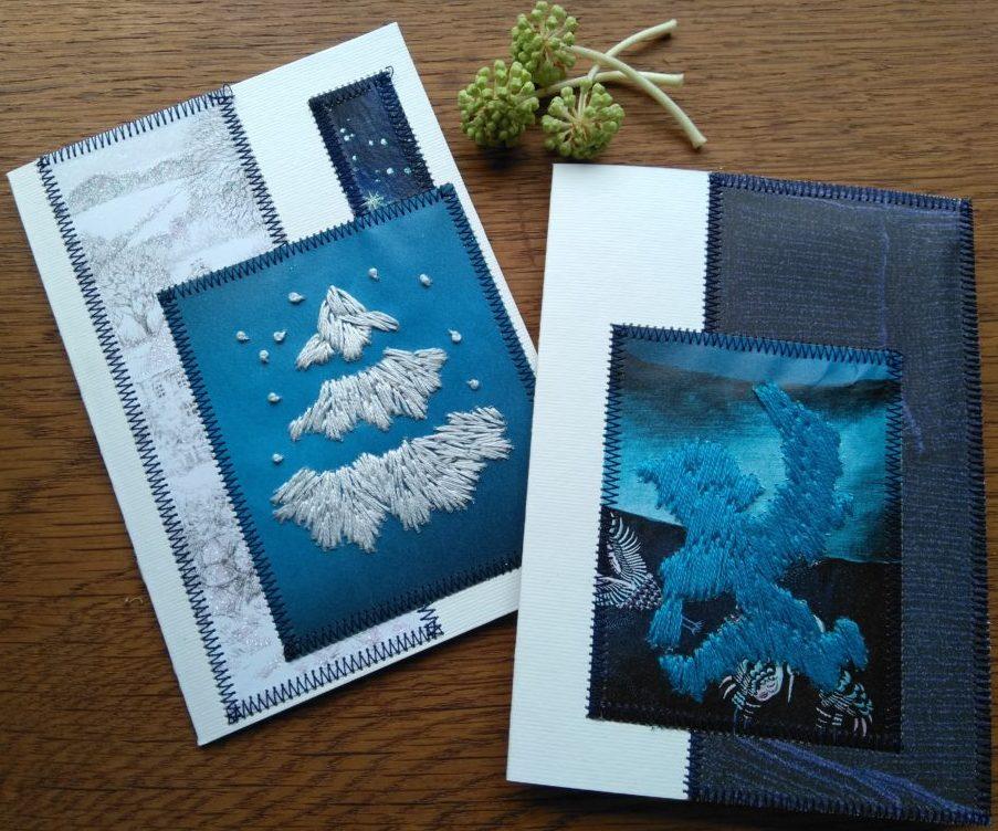 Julekort i blå farver lavet af genbrugsmaterialer