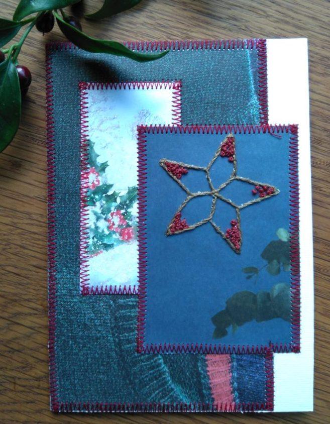 Genbrugs julekort med broderet stjerne