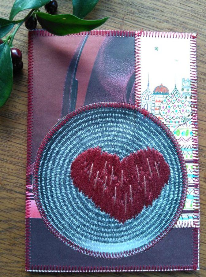 genbrugsjulekort med broderet hjerte