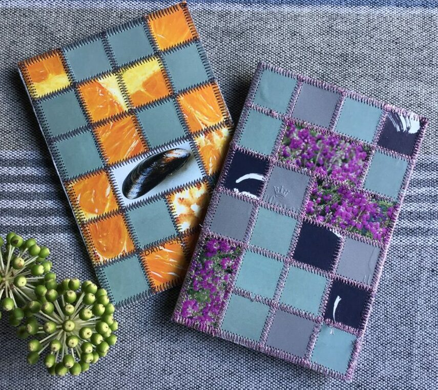 Paper patchwork cards with clams and heather
