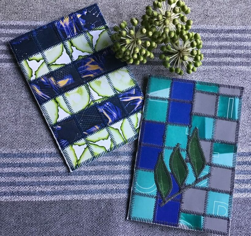Paper patchwork cards in blue and green colours