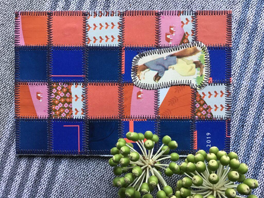 Papir patchwork i pink og blå med en ræv