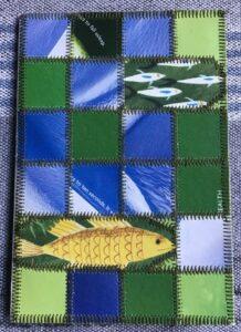 Papir patchwork kort med fisk i blå og grønne farver