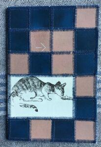 Papir patchwork kort med katte tegning