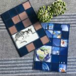 Paper patchwork cards with a cat and with the globe