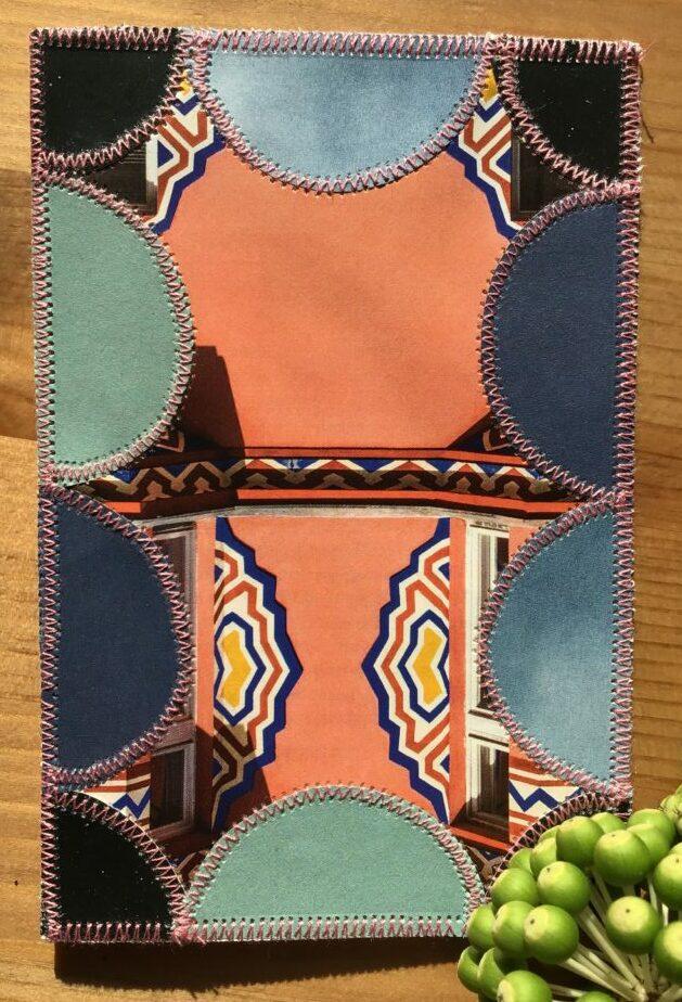 Kort i brændte farver i cirkel papir patchwork