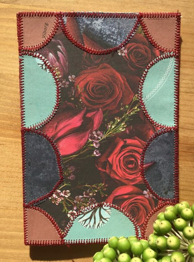 Paper patchwork card with roses