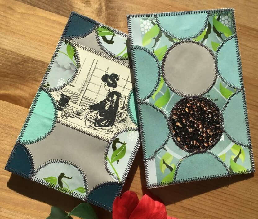 Two cards made with grey paper in patchwork