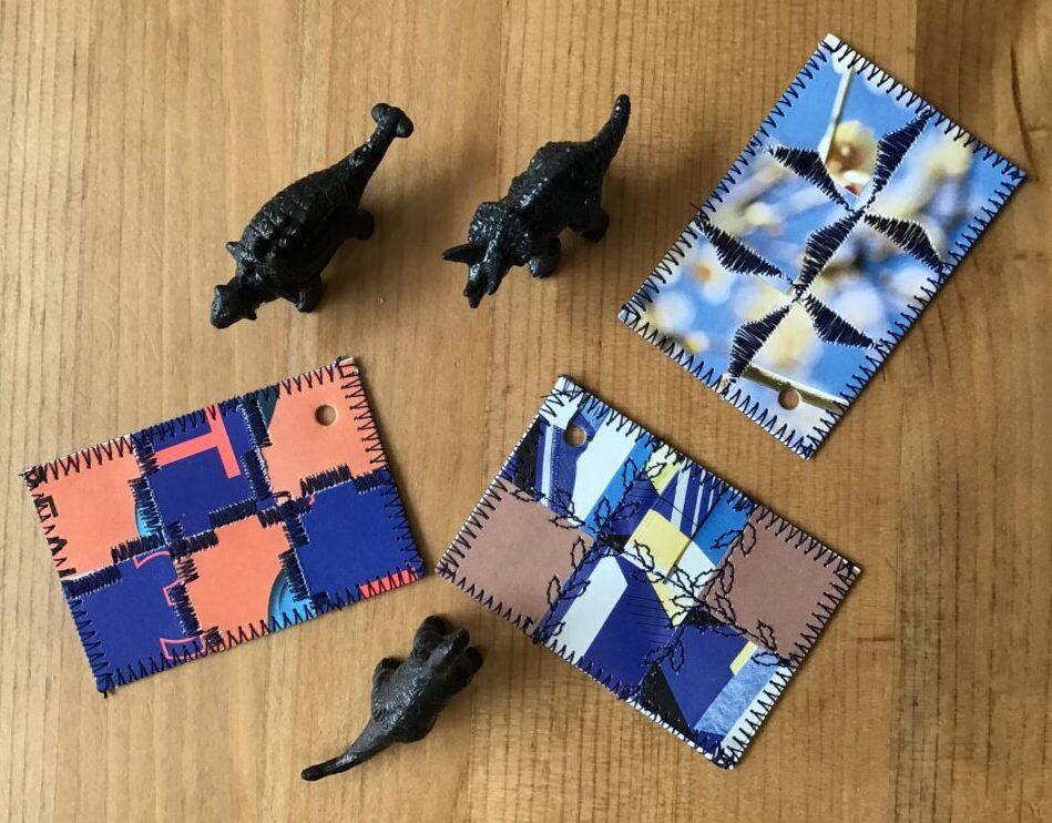 Vedhængskort lavet af små papir rester fra papirpatchwork kort