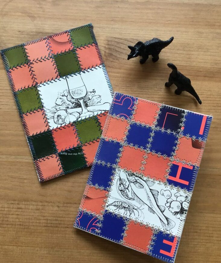 These cards are made out of upcycled materials and a bit of machine embroidery