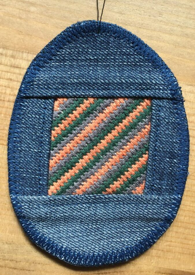 Embroidered Easter egg made out of old jeanss