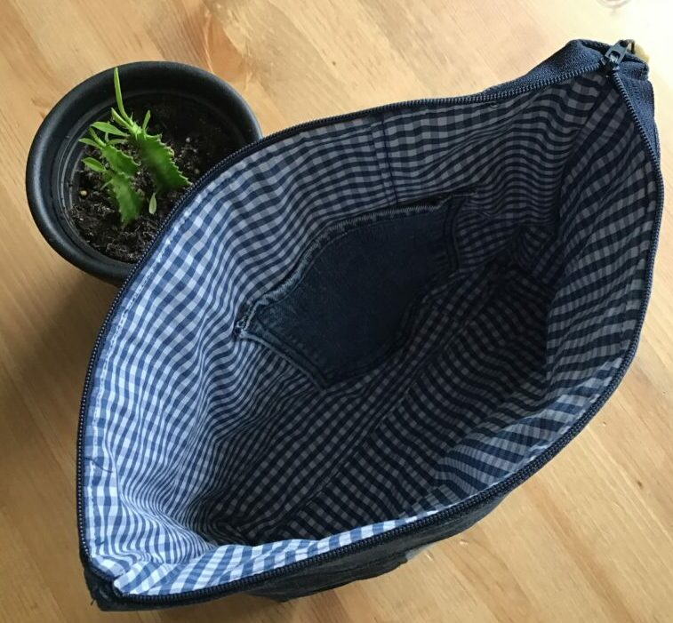 The inside of a wash bag made out of recycled materials