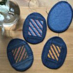 Easter eggs made out of old jeans and embroidery
