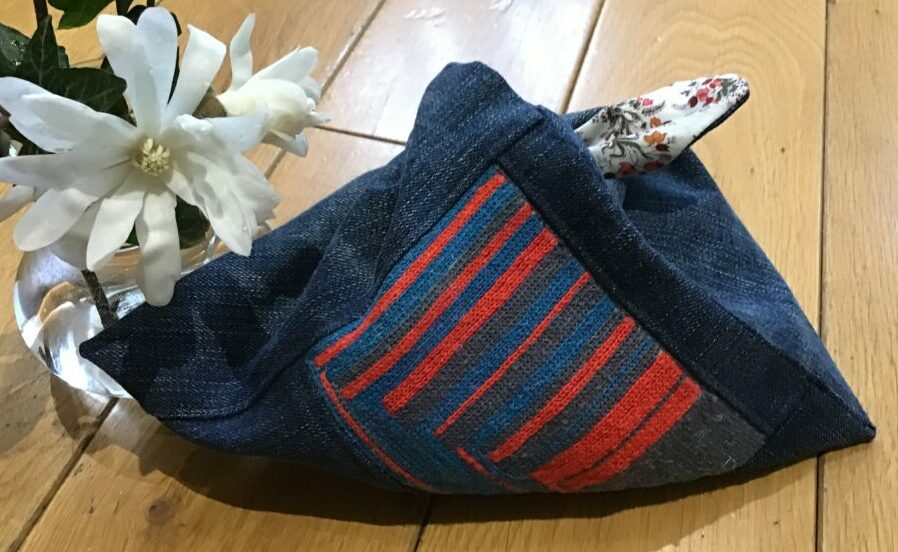 Knitting bag made out of old jeans and tambour embroidery