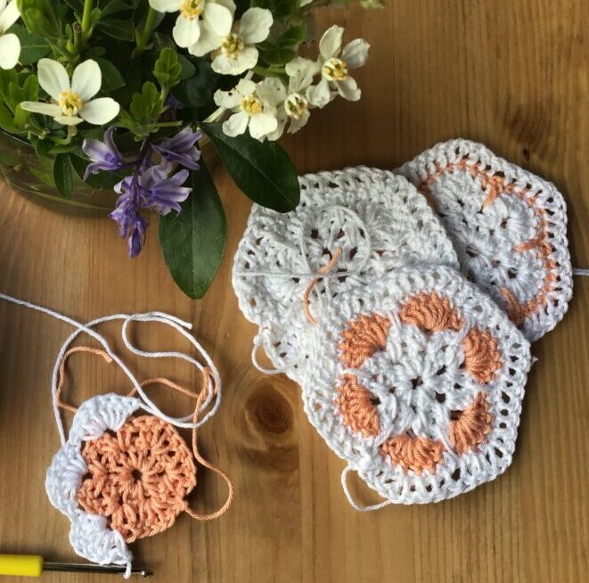 These squares crocheted in the African flower pattern