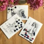 Old cards upcycled with buttons and embroidery