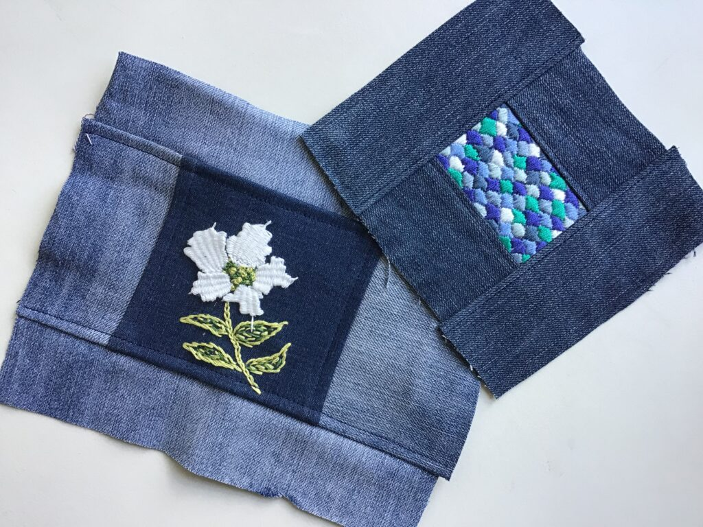 Embroideries made on upcycled pieces of old jeans