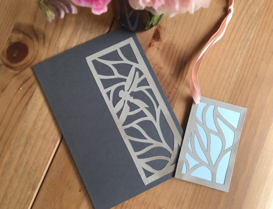 Cards with paper cutting made entirely out of recycled materials