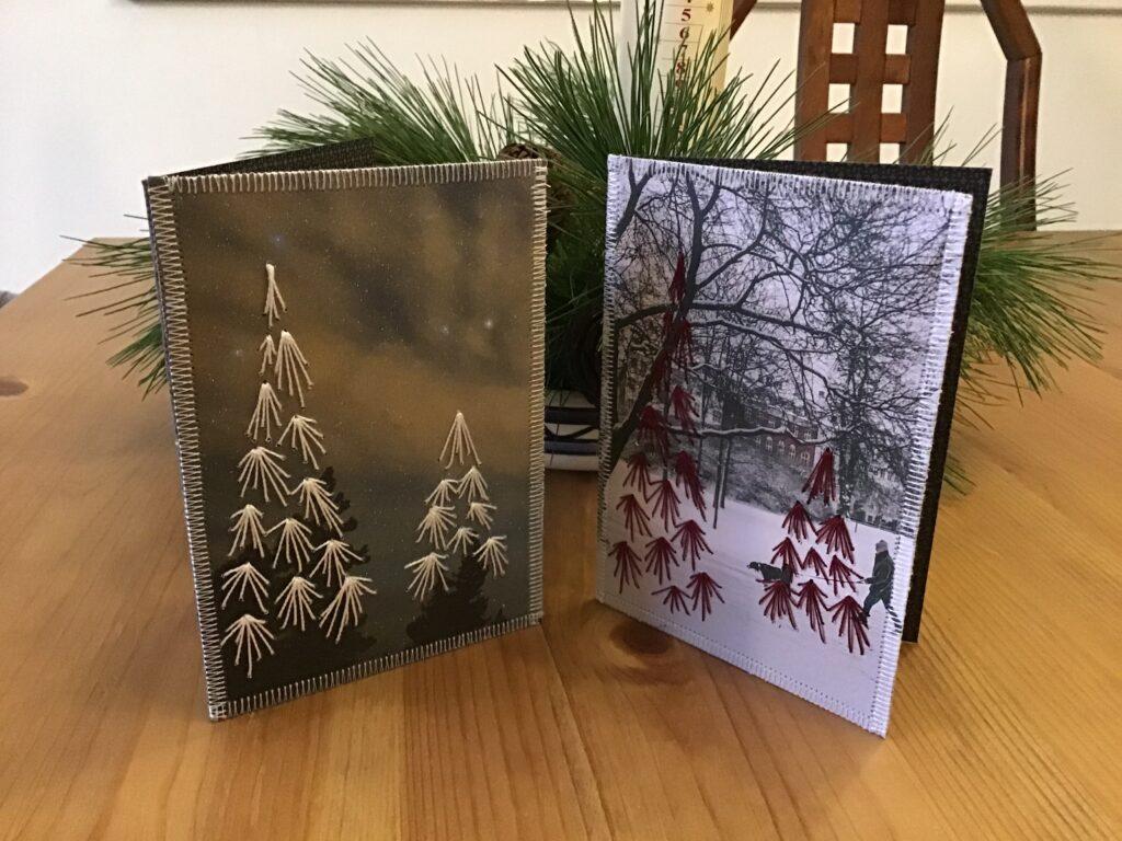Broderi og genbrug bliver til julekort