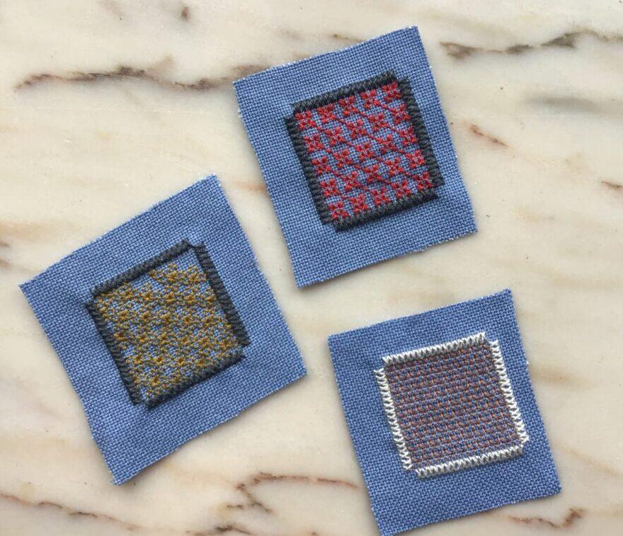 Små stofrester perfekte til afprøvning af forskellige broderi mønstre